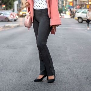Betabrand Dress Yoga Pants Gray Stretch Small Long